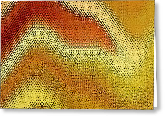 Modern Digital Art Digital Art Greeting Cards - Red Orange And Yellow Glass Waves Greeting Card by Ben and Raisa Gertsberg