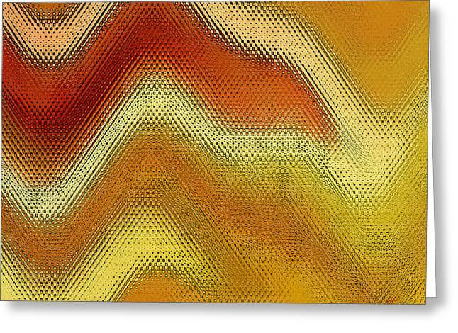 Irregular Forms Greeting Cards - Red Orange And Yellow Glass Waves Greeting Card by Ben and Raisa Gertsberg
