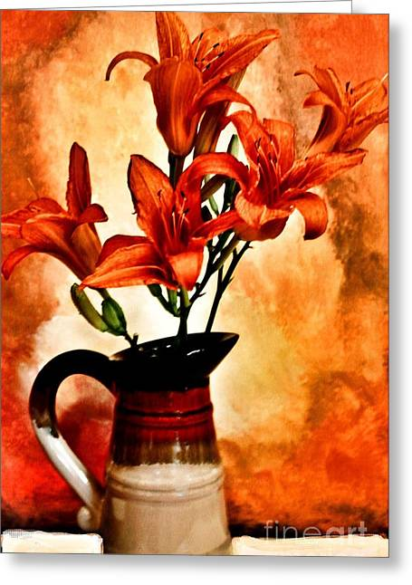 Dk Greeting Cards - Red Orange Lilies Greeting Card by Marsha Heiken