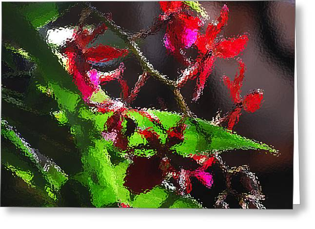 Orchids Digital Art Greeting Cards - Red Orchids Through Frosted Glass Greeting Card by Nancy Mueller
