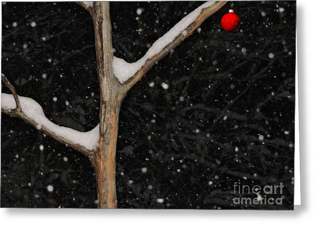 Snowy Night Greeting Cards - Red Ornament Greeting Card by Mim White