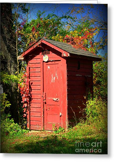 Outdoor Toilets Greeting Cards - Red Outhouse Greeting Card by Paul Ward