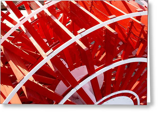 Paddle Wheel Greeting Cards - Red Paddle Wheel Greeting Card by Art Block Collections