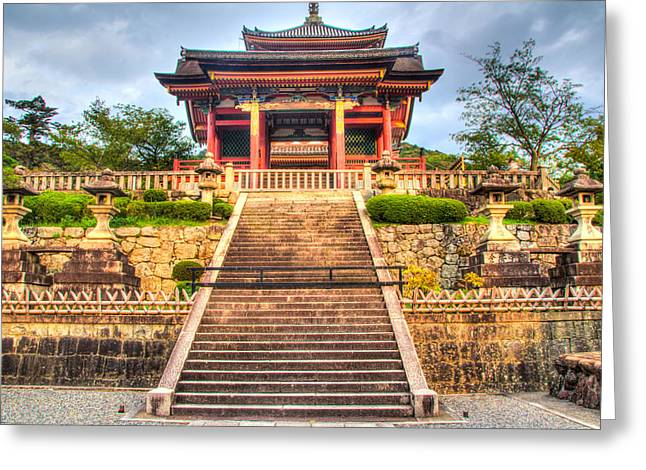 Laura Palmer Greeting Cards - Red Pagoda at Sunset at Japanese temple Greeting Card by Laura Palmer