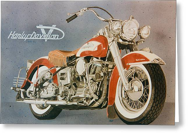 Head Stand Paintings Greeting Cards - Harley Davidson red pan head  Greeting Card by Mark Zelenkovich