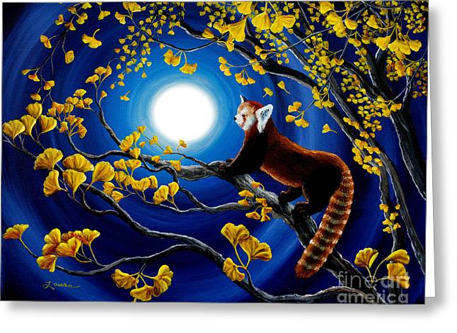 Blue Panda Greeting Cards - Red Panda in Golden Gingko Tree Greeting Card by Laura Iverson