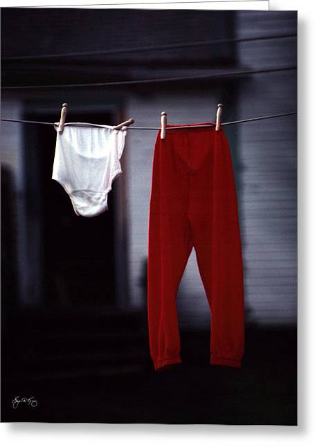 Washlines Greeting Cards - Red Pants Greeting Card by Wayne King