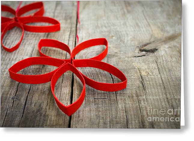 Christmas Star Greeting Cards - Red Paper Christmas Stars Greeting Card by Aged Pixel