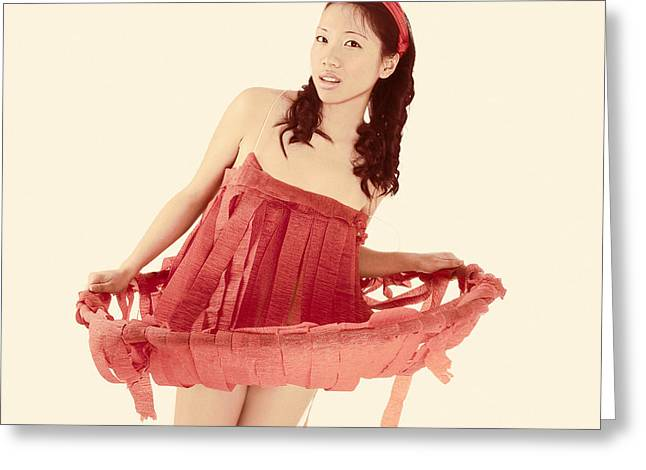 Streamer Greeting Cards - Red Paper Dress Greeting Card by Igor Kislev