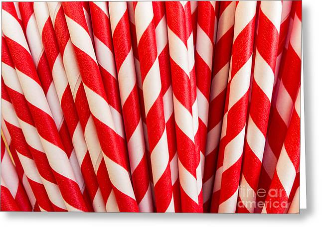 Kitchen Photos Greeting Cards - Red Paper Straws Greeting Card by Edward Fielding
