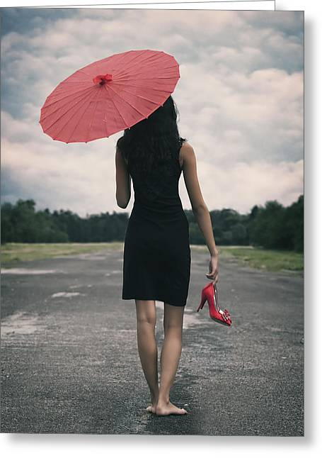 Skinny Photographs Greeting Cards - Red Parasol Greeting Card by Joana Kruse