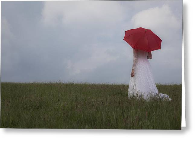 Pensive Greeting Cards - Red Parasol Greeting Card by Maria Heyens