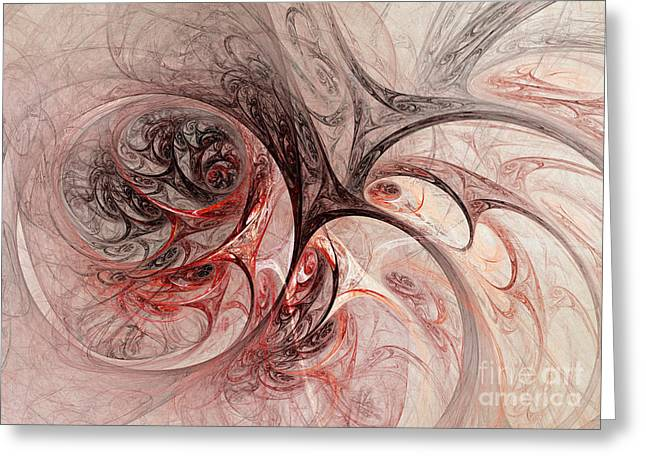 Helix Digital Art Greeting Cards - Red passion - abstract art Greeting Card by Martin Capek