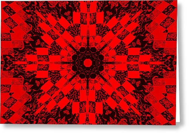 Cutting Tapestries - Textiles Greeting Cards - Red Patchwork Art Greeting Card by Barbara Griffin