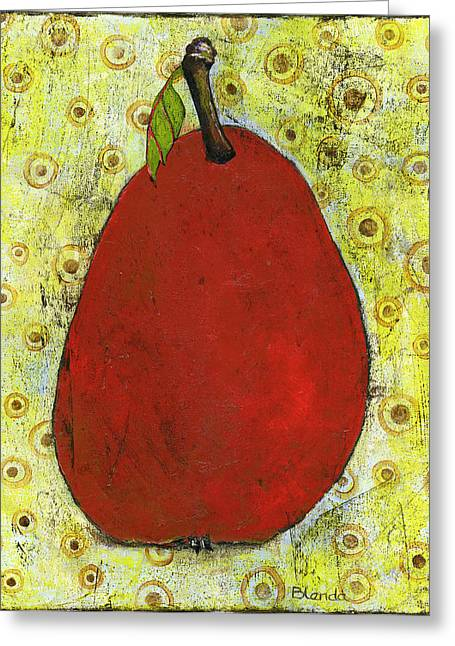 Pear Prints Greeting Cards - Red Pear Circle Pattern Art Greeting Card by Blenda Studio