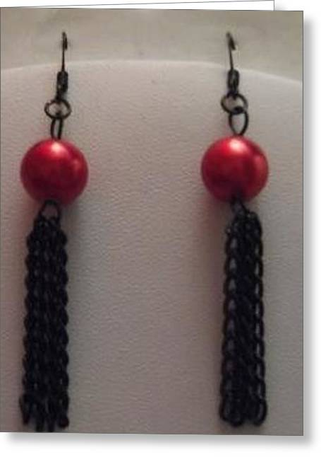 Chain Jewelry Greeting Cards - Red Pearl and Black Chain Tassel Earrings Greeting Card by Kimberly Johnson