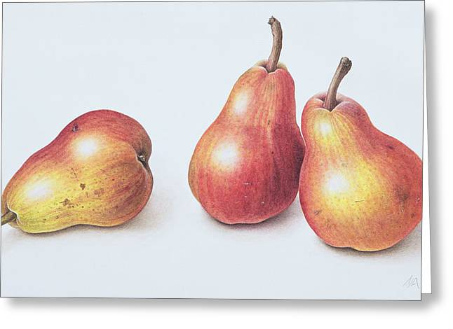 Red Pears Greeting Card by Margaret Ann Eden