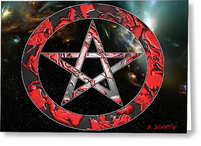 Pentagram Art Greeting Cards - Red Pentagram  Greeting Card by Brian Dearth