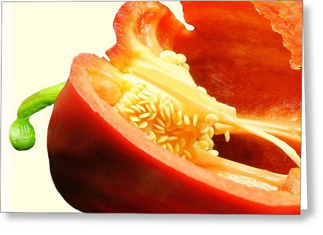 Cut In Half Greeting Cards - Red Pepper Seeds Greeting Card by Diana Angstadt