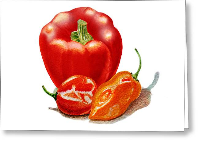 Sour Greeting Cards - Red Pepper With Hot Peppers Greeting Card by Irina Sztukowski