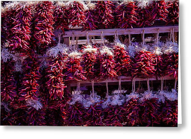 Chilies Greeting Cards - Red Peppers In Bunches Greeting Card by Garry Gay