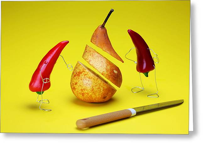 Red Peppers Sliced A Pear Greeting Card by Paul Ge