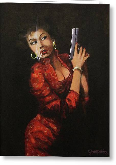 Film Noir Paintings Greeting Cards - Red Peril Greeting Card by Tom Shropshire