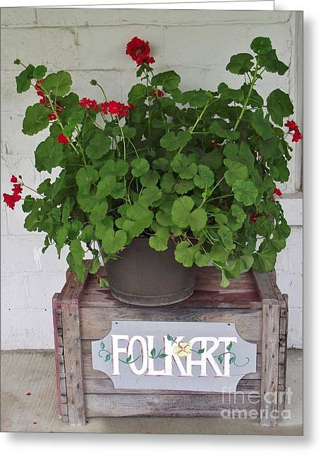Red Geraniums Greeting Cards - Red Piano Porch Greeting Card by Michelle Welles