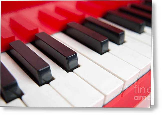 Red Piano Greeting Card by Yew Kwang