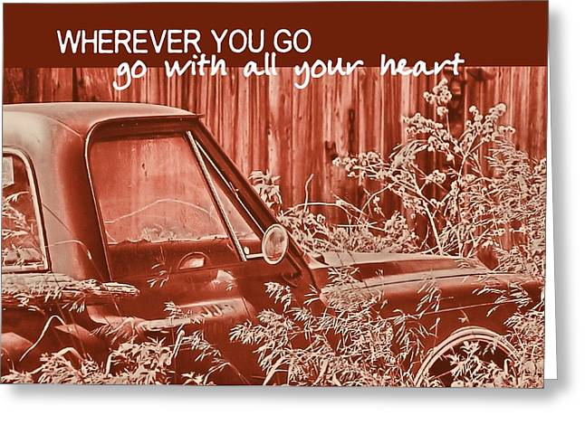 Red Pickup Quote Greeting Card by JAMART Photography