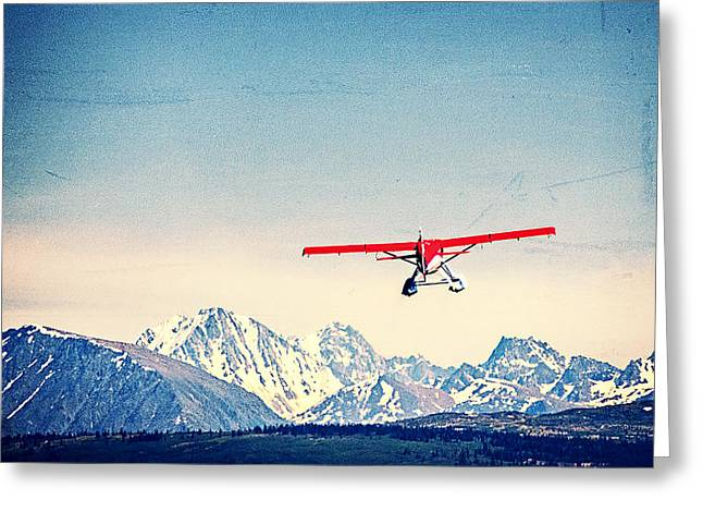 Wasilla Greeting Cards - Red Plane Over Alaska Greeting Card by Vicki Jauron