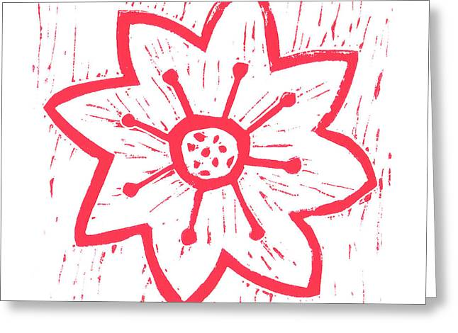 Block Reliefs Greeting Cards - Red Poinsettia Greeting Card by Lynn-Marie Gildersleeve