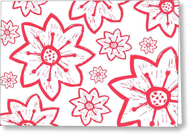 Block Reliefs Greeting Cards - Red Poinsettia Pattern Greeting Card by Lynn-Marie Gildersleeve