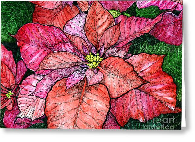 Stipple Greeting Cards - Red poinsettias II Greeting Card by Hailey E Herrera