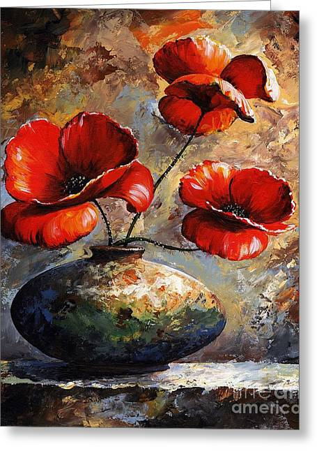 Coloured Greeting Cards - Red Poppies 02 Greeting Card by Emerico Imre Toth