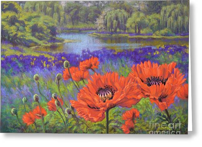 Flora Pastels Greeting Cards - Red Poppies 1 Greeting Card by Fiona Craig