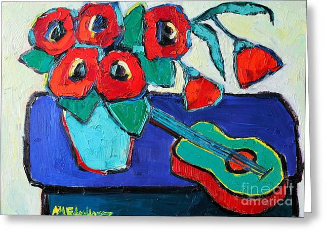 Turquoise Violin Greeting Cards - Red Poppies And Guitar  Greeting Card by Ana Maria Edulescu