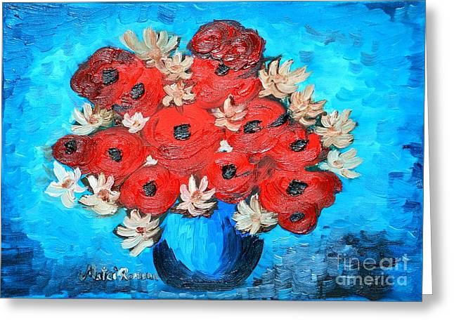 Floral Still Life Greeting Cards - Red Poppies and White Daisies Greeting Card by Ramona Matei