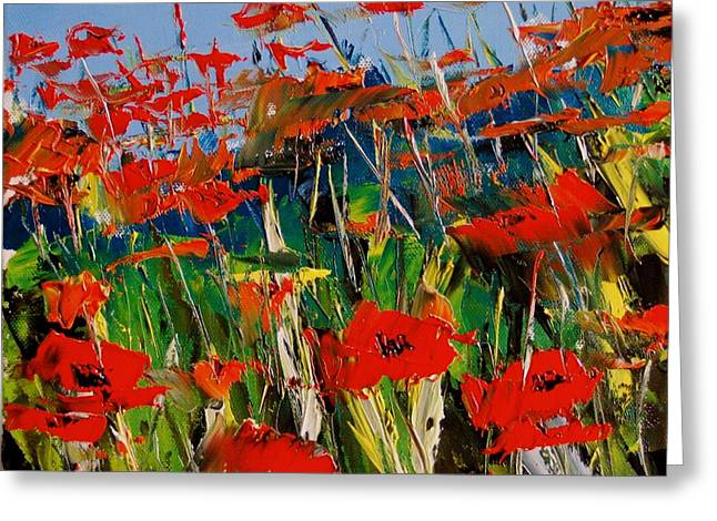 Red Cat Wine Greeting Cards - Red Poppies Greeting Card by Atelier De  Jiel