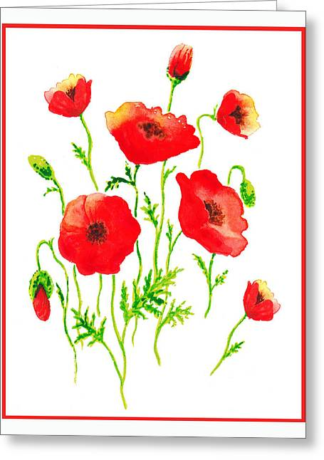 Green Leafs Greeting Cards - Red Poppies Botanical Design Greeting Card by Irina Sztukowski