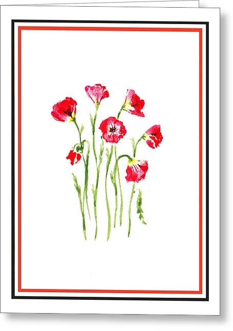 Landscape. Scenic Greeting Cards - Red Poppies Bunch Greeting Card by Irina Sztukowski