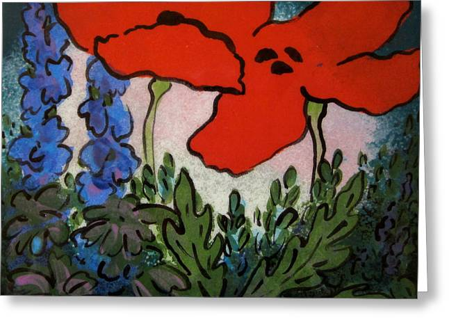 Tiles Ceramics Greeting Cards - Red Poppies Greeting Card by Carol Keiser