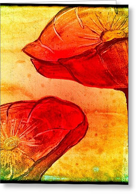 Laura Carter Greeting Cards - Red Poppies Colorful Abstract Painting Greeting Card by Laura  Carter