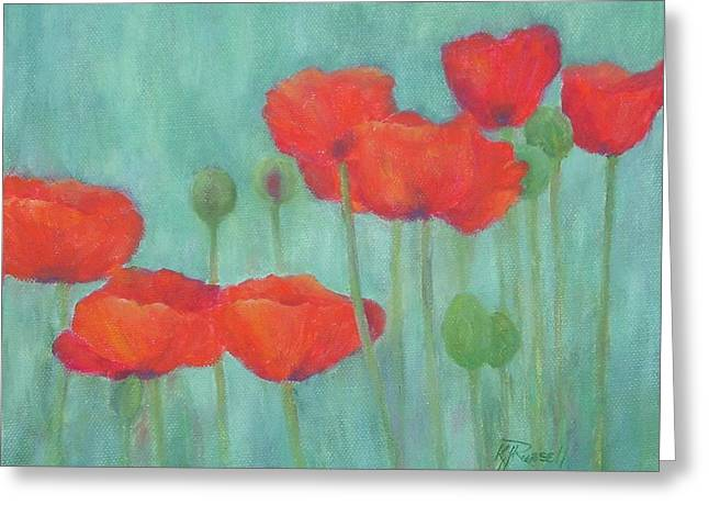 K Joann Russell Greeting Cards - Red Poppies Colorful Poppy Flowers Original Art Floral Garden  Greeting Card by K Joann Russell