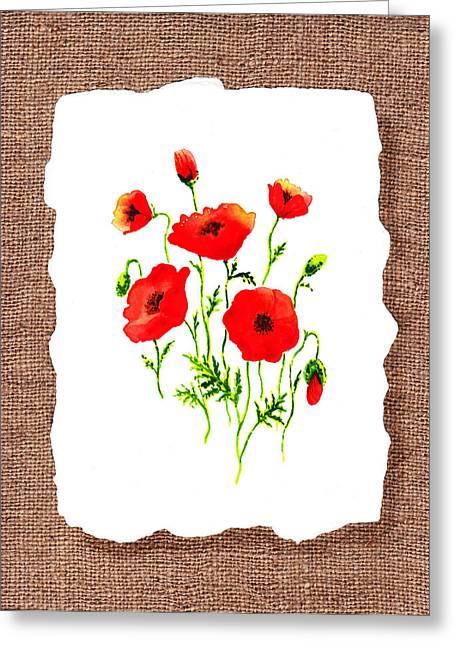 Poppies Art Gift Greeting Cards - Red Poppies Decorative Collage Greeting Card by Irina Sztukowski