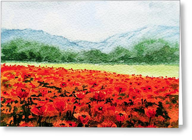 Poppies Home Decor Greeting Cards - Red Poppies Field Greeting Card by Irina Sztukowski