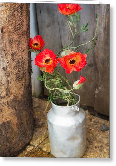 Poppy Decorations Greeting Cards - Red poppies flowers in milk churn  Greeting Card by Matthias Hauser