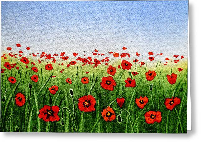 Poppy Decorations Greeting Cards - Red Poppies Green Field And A Blue Blue Sky Greeting Card by Irina Sztukowski
