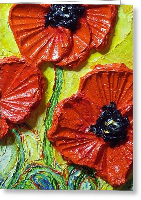 Lancaster Fine Arts Greeting Cards - Red Poppies II Greeting Card by Paris Wyatt Llanso