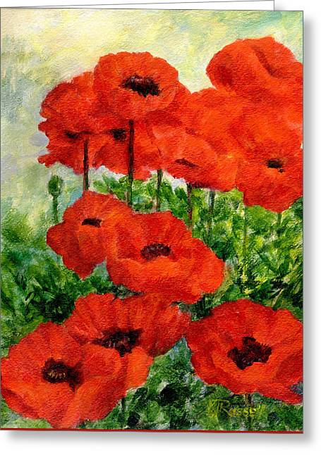 Red  Poppies In Shade Colorful Flowers Garden Art Greeting Card by K Joann Russell